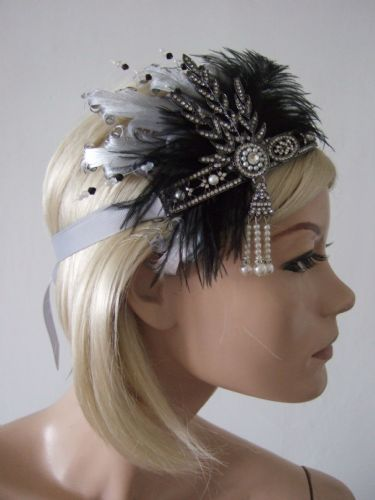 "Black Silver Goose Ostrich Feathers Crystal Headband 1920s Downton Abbey Party Gatsby Flapper ""Dora"""